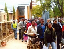 groups of people going to church