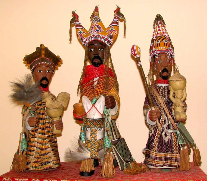 Three Kings from the Nativity set sent by the Oye-Ekiti Workshop as the global debut of the Yoruba Christian genre to the Vatican's Missionlands Exhibition (1950) representing the work of artists George Bandele, Christiana Ojo and Jimoh Adetoye (loaned by the Pontifical Urbaniana University).