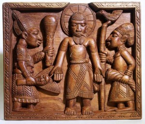 Yoruba Transfiguration panel by Lamidi Fakeye showing Christ as the fulfillment of Yoruba traditional religion.